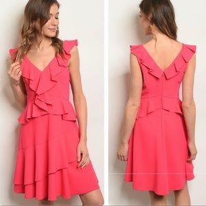 Dresses & Skirts - 🎉NEW W/TAGS! STUNNING PINK RUFFLE DRESS